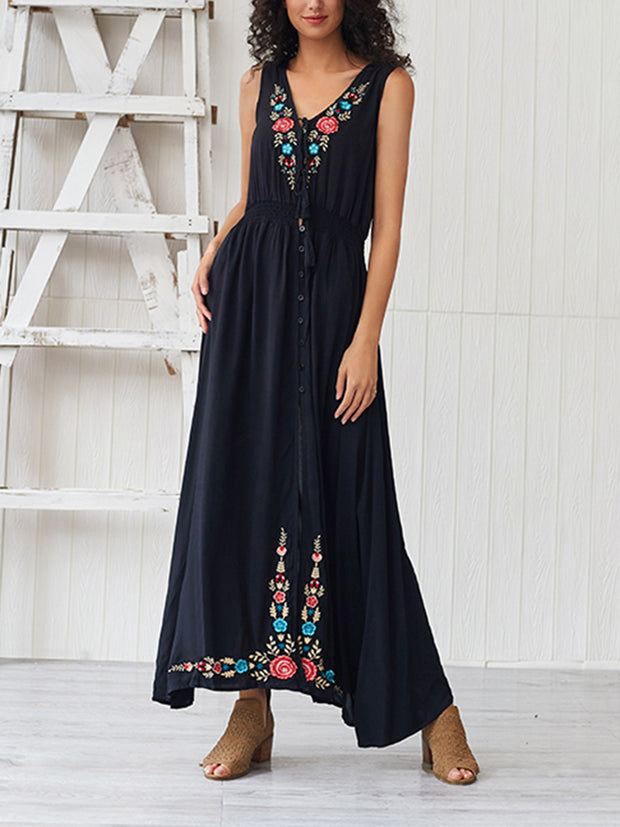 V-neck Split Maxi Dress