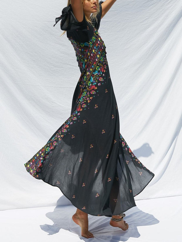 Boho Print Deep V Neck 3/4 Sleeve Maxi Dress