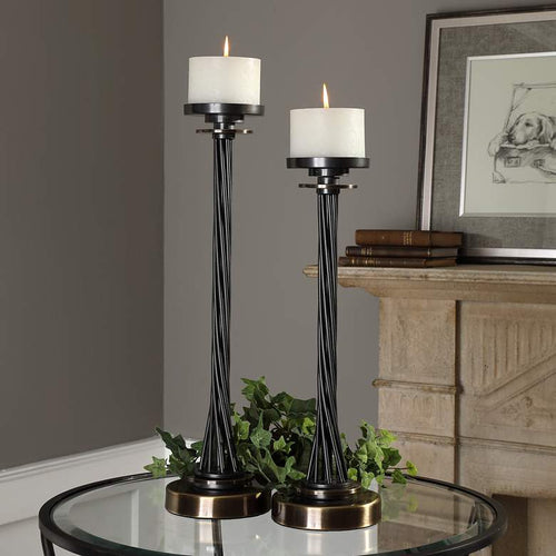 UTTERMOST Kendra Twisted Black Pillar Candle Holder Set of 2 - GLOW ON SUNSET