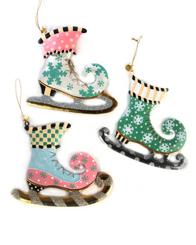 MACKENZIE-CHILDS Home Sweet Snow Skate Ornaments Set of 3 $79 FREE SHIPPING OR PICK UP - GLOW ON SUNSET