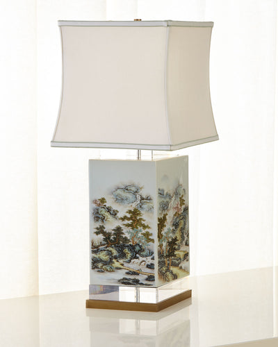 JOHN-RICHARD COLLECTION White & Green Forest Table Lamp - GLOW ON SUNSET