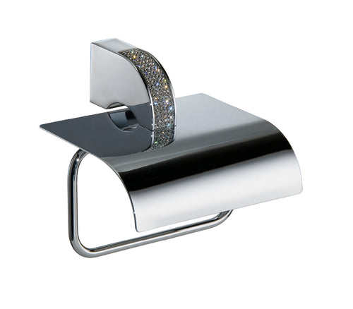 CARMEN COLLECTION CECILIA Luxury Swarovski Crystals Toilet Paper Holder - Chrome - GLOW ON SUNSET