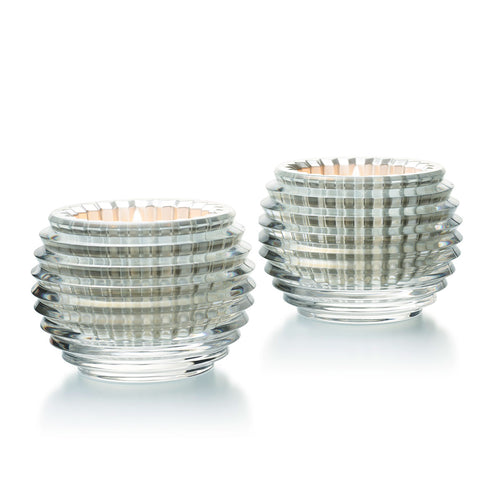 BACCARAT Crystal Silver Eye Votive Pair - GLOW ON SUNSET