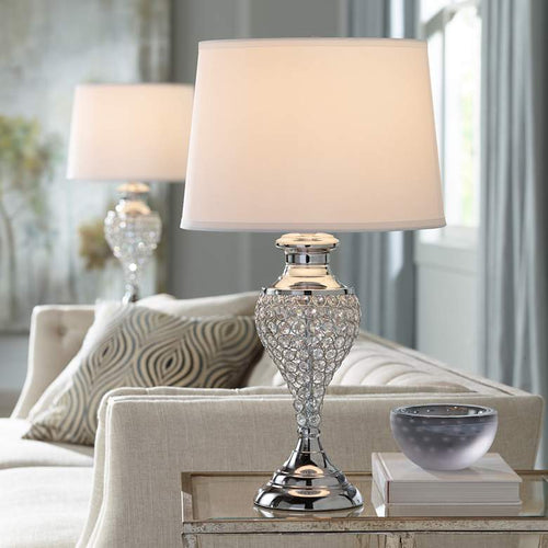 Glitz and Glam Polished Chrome Urn Table Lamps Set of 2 - GLOW ON SUNSET