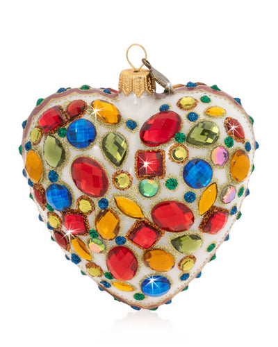 JAY STRONGWATER Bejeweled Heart Christmas Ornament $160 FREE SHIPPING OR PICK UP - GLOW ON SUNSET
