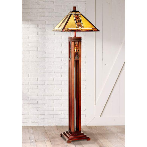 ROBERT LOUIS TIFFANY Walnut Mission Tiffany Style Floor Lamp with Night Light - GLOW ON SUNSET