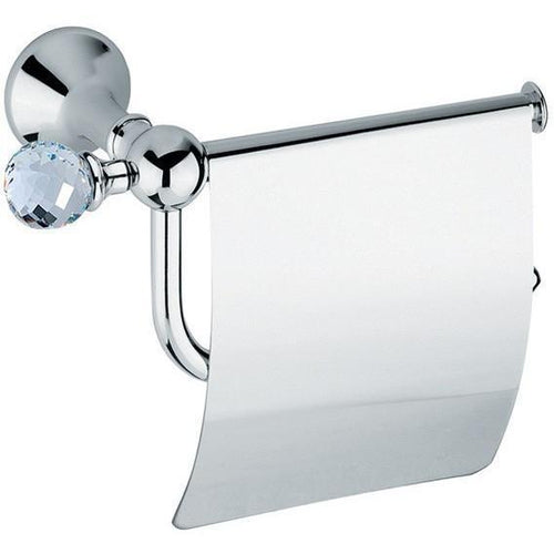 BA FOLIE Swarovski Wall Toilet Paper Holder Tissue Dispenser With Lid - Polished Chrome - GLOW ON SUNSET