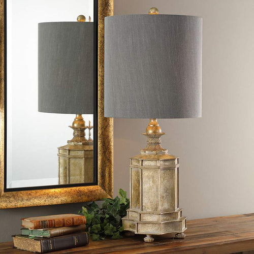 UTTERMOST Falerone Distressed Golden Champagne Buffet Table Lamp - GLOW ON SUNSET