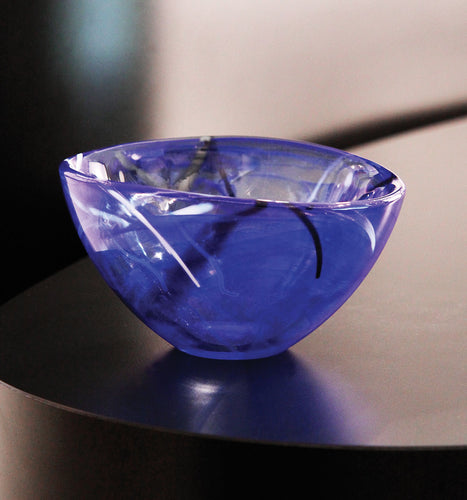 KOSTA BODA Contrast Large Crystal Bowl Blue - GLOW ON SUNSET