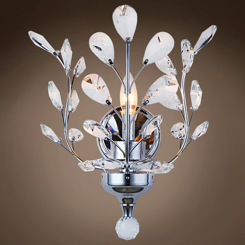 JM Branch of Light 1 Light Chrome Wall Sconce with Crystals - GLOW ON SUNSET