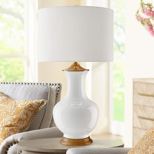 CURREY AND COMPANY Lilou White Ceramic Table Lamp - GLOW ON SUNSET