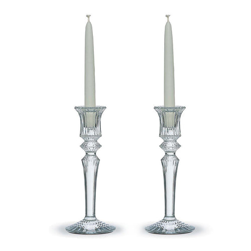 BACCARAT Crystal Mille Nuits Clear Crystal Candleholders Pair - GLOW ON SUNSET