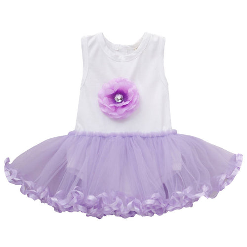Augelute Elegant Purple Flower Bodysuit Dress - BabyLand.my