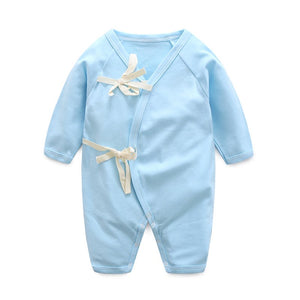 Baby Bathrobe Style Romper Series (Plain Blue) - BabyLand.my
