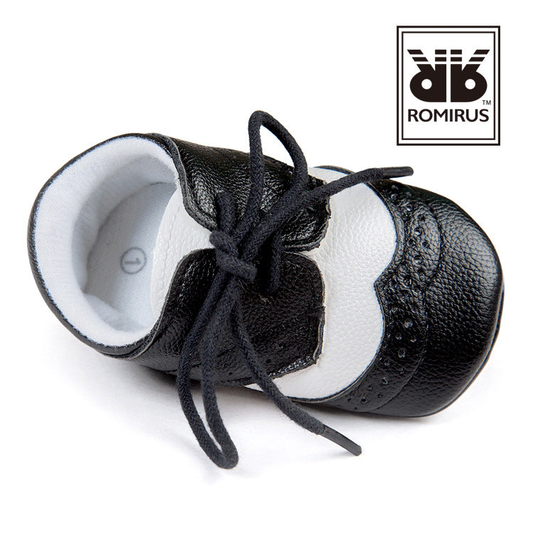 Mr. Leather Baby Pre-Walker Shoe (Black VS White) - BabyLand.my