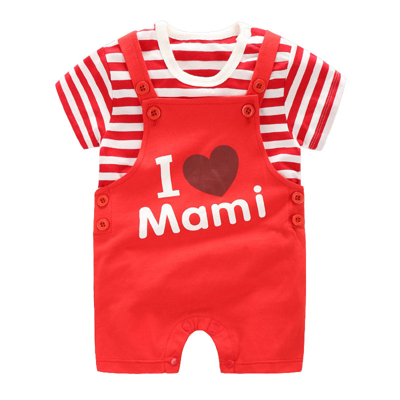 I Love Mami Strappy Romper Set - BabyLand.my