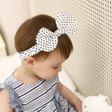 Load image into Gallery viewer, Black Dot In White Bow-Knot Headband - BabyLand.my