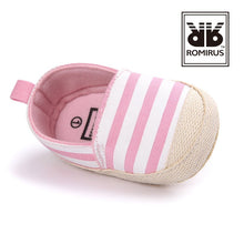 Load image into Gallery viewer, Classic Striped Canvas Pre-Walker Shoe (Pink) - BabyLand.my