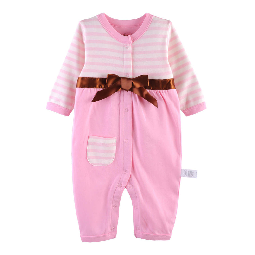 First Movements Pink Lady Striped Romper - BabyLand.my