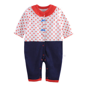 First Movements Lovely Girl's Polka Dots 2-in-1 Suit Romper - BabyLand.my