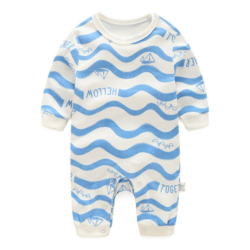 Sailboat In Blue Wave Romper - BabyLand.my
