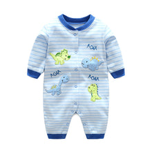 Load image into Gallery viewer, First Movements Roaring Dinosaurs Striped Romper - BabyLand.my