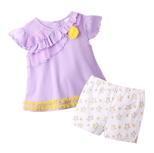 Augelute Puffy Sleeves Pant Set (Purple Star) - BabyLand.my