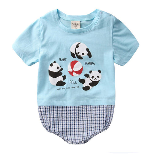 Augelute Graphic & Plaid Bodysuit (Babies Panda) - BabyLand.my