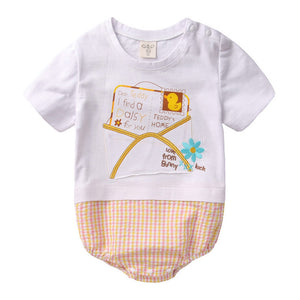 Augelute Graphic & Plaid Bodysuit (Love Letter) - BabyLand.my