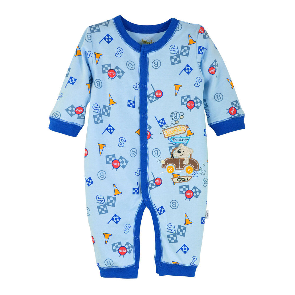 First Movements Car Racing Teddy Romper - BabyLand.my