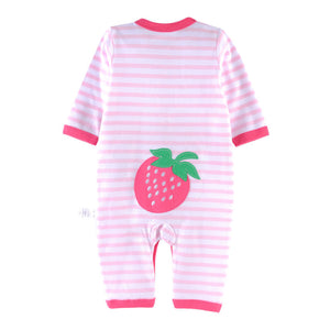 First Movements Sweet Strawberries Striped Romper - BabyLand.my