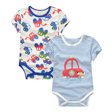 Load image into Gallery viewer, MomsCare Red Bumper Car Bodysuit (Blue Striped) - BabyLand.my