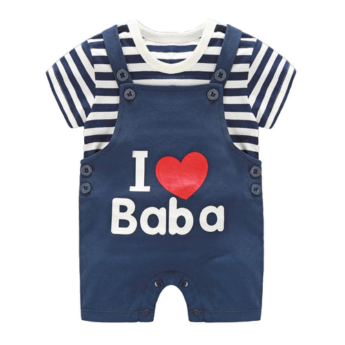 I Love Baba Strappy Romper Set - BabyLand.my