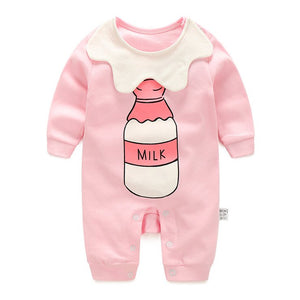 Baby Girl's Milk Bottle Bib Romper (Pink) - BabyLand.my