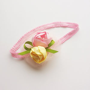 Beautiful Pink & Yellow Roses Under Lace Headband - BabyLand.my