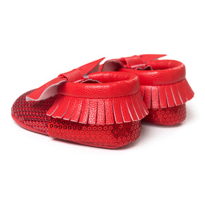 Bowties & Sequins Pre-Walker Moccasin (Red) - BabyLand.my