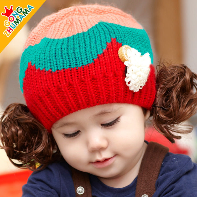GZMM Tri-Color Series Baby Wig Crochet Beanie - BabyLand.my
