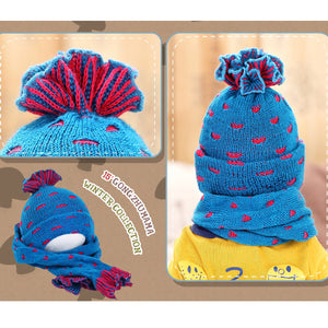 GZMM Dual-Color Crochet Beanie + Scarf - BabyLand.my