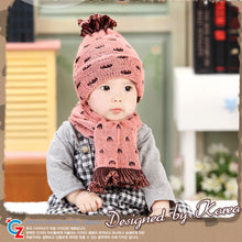 Load image into Gallery viewer, GZMM Dual-Color Crochet Beanie + Scarf - BabyLand.my