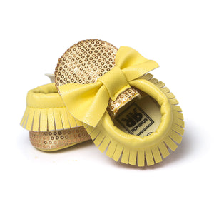Bowties & Sequins Pre-Walker Moccasin (Yellow) - BabyLand.my