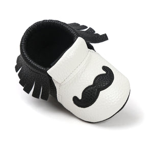 Moustache Fringe Pre-Walker Moccasin (White Moustache) - BabyLand.my