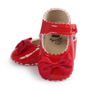 Wavy Bow-Knot Baby Pre-Walker Shoe (Red) - BabyLand.my