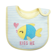 Load image into Gallery viewer, MomsCare Kissing Fish Blue Striped Bib - BabyLand.my