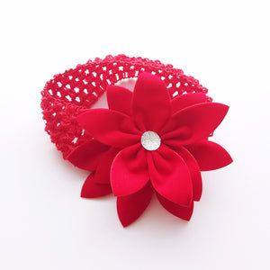 Overlapping 5-Petals Red Flowers Lace Headband - BabyLand.my