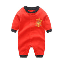 Load image into Gallery viewer, First Movements Red Soccer No. 6 Romper - BabyLand.my