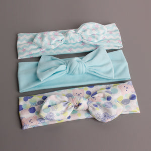 Bow-Knot 3-in-1 Headband Set (Lovely Bear Blue Series) - BabyLand.my