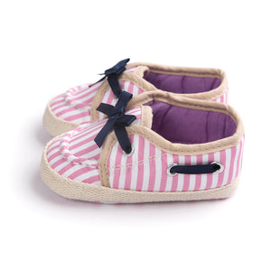 Bow-Knot Shoelace Pre-Walker Shoe (Pink Stripes) - BabyLand.my