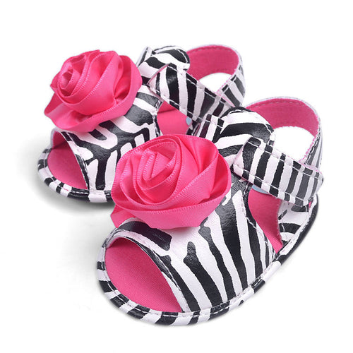Rose & Zebra Stripe Pre-Walker Shoe - BabyLand.my