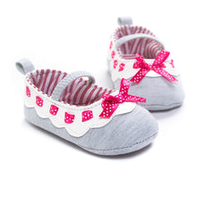 Load image into Gallery viewer, Tiny Polka Ribbon Grey Pre-Walker Shoe - BabyLand.my