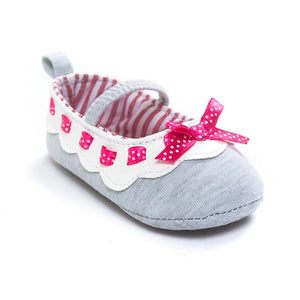 Tiny Polka Ribbon Grey Pre-Walker Shoe - BabyLand.my